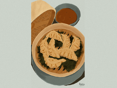 Yummy Food #2 yummy food tasty dumplings illustration food drawing food illustration yummy sauce bamboo dumplings grain texture flat illustration flatdesign wacom intuos illustrator illustration art illustration
