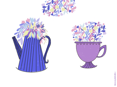 Vases nature illustration pot leaves plant floral blue color procreate art bright color flowers vase flowers illustration vases flat illustration flatdesign illustration art illustration