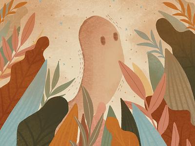 Friendly Ghost halloween party texture plants plant illustration procreate art procreate halloween ghosties ghost grain texture warm colors orange flat illustration illustration art illustration
