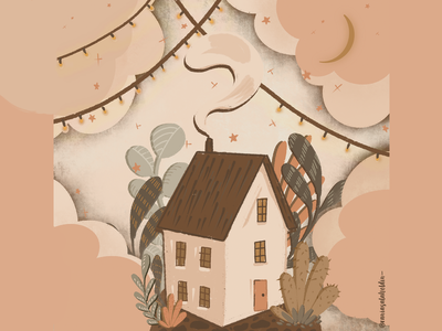 Tiny House In Canada lights lonely autumn stars wildflower procreate art procreate home sweet home clouds house illustration house nature texture grain texture warm colors flatdesign illustration art illustration