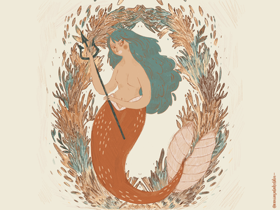 The Little Mermaid ✨🧜‍♀️ warm colors illustrationoftheday fish tail procreate art procreate texture illustration illustration art sea mermaidart