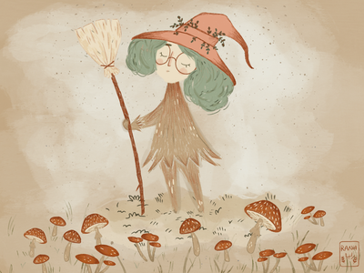 Mushroom witch 🍄 🧙♀️ ✨ artwork vintage orange illustration art illusion fairytale texture magical witchy witch procreate art procreate warm colors grain texture illustration