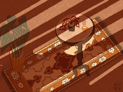 Golden Hour & Silence quiet abstract design warm oranges coffee table rug sunset goldenhour texture warm colors plants orange procreate procreate art grain texture illustration art illustration
