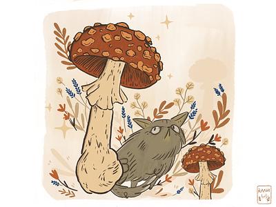 Mushroom Land ✨ 🍄 warmandcozy mushrooms mushroomland magic wildflowers procreateart cat catillustration mushroomart procreate grain texture illustration art illustration