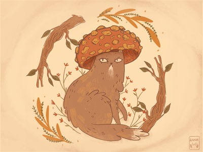 Mushroom Cat 🍄🐈🍄 flowers wildflowers procreate procreateart procreateillustration texture magical spiritual woods catillustration mushrooms illustration art grain texture illustration
