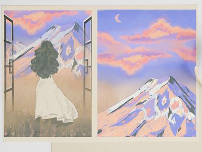 "Dreamcatcher comic book episode ""Mirrors"" window girl landscape mirrors grain texture mountian book comic dreams procreate comicbook illustration art illustration"