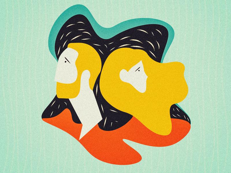 This Is Not a Dream grain texture wacom intuos illustration art illustrator comet flatdesign man woman feelings yellow orange green girl boy flat illustration illustration