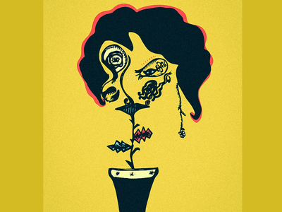 Plant Lady lady surrealism sketching ink hairstyle plant yellow grain texture vector illustration woman wacom intuos illustrator illustration art