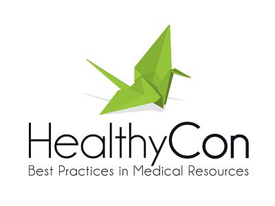 Healthycon grean clean bird origami logotype logo