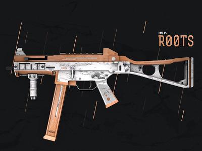CS: GO Weapon UMP-45 3d texture design ump csgo marble wood gun weapon