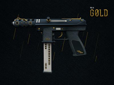 CS: GO Weapon Tec-9 stitch design stitches tec fabric gold csgo gun weapon 3d