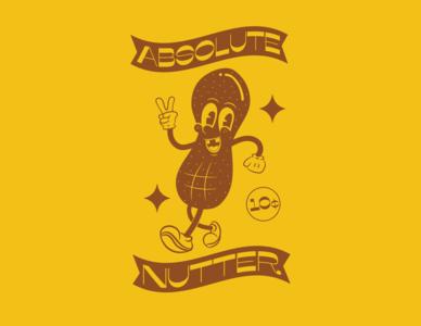 Absolute Nutter vector tshirt design tshirt art tshirt sticker vintage retro peanuts peanut nuts nut mascot illustration art illustrator illustration design duotone character cartoonish cartoon