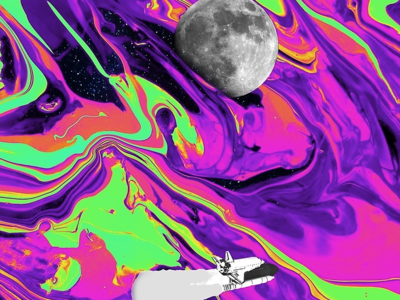 The Final Frontier poster a day poster phonecase apparel redbubble spaceship moon space iridescent acid trippy liquid colourful design