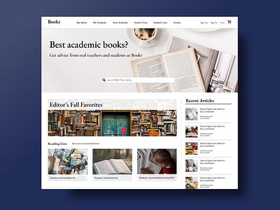 Bookr Landing Page landing page articles book store ui design
