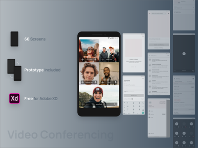 Video Conferencing 🤳🏻 - freebie wireframe kit android ui mobile app design free ui mobile app ui  ux android app ui kit free wireframe kit adobe xd templates adobe xd layout design free ui kit video conferencing video call free wireframes freebie xd freebie wireframe design wireframe kit ux design ui design