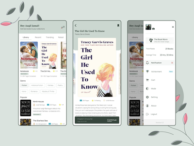 Book Reading Concept App 📚 navigation sidebar design card layout card design button book app book design mobile ui mobile app subtle layout design flat clean adobe xd minimal icon typogaphy ux ui design