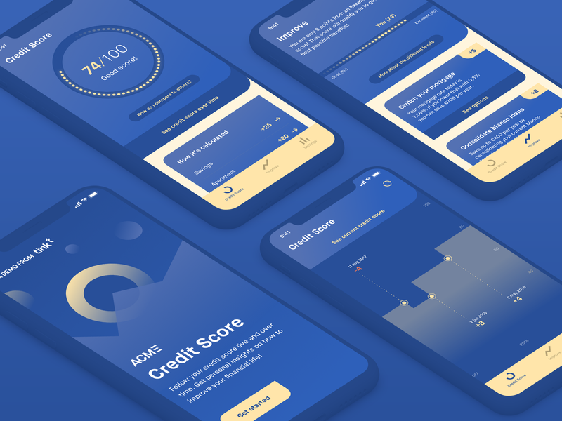 Acme Credit Score app design finance ios credit score product design