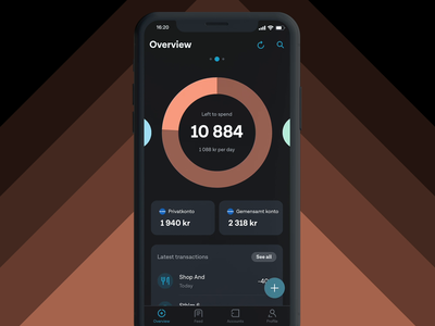 Tink Left To Spend (Dark mode) money management dark ui dark mode ios interaction design app design finance