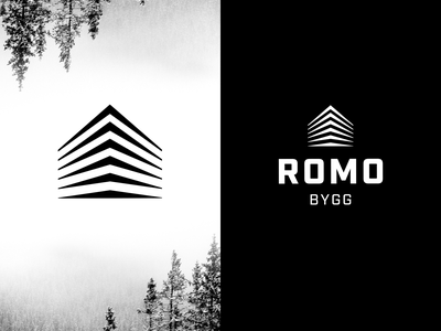 Romo Bygg Logo carpenter construction black  white logodesign logo branding