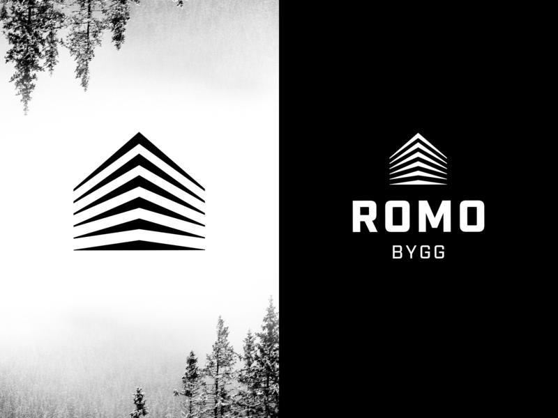 Romo Bygg Logo carpenter construction black  white logodesign logo branding
