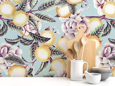 Guava print wallpaper watercolor pattern pattern design decoration wallpaper wallpaper design pattern art floral pattern illustration floralprint
