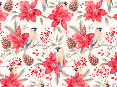 Birds&Joy pattern art birds christmas wallpaper illustration surfacedesigner floral pattern pattern design pattern floralprint watercolor
