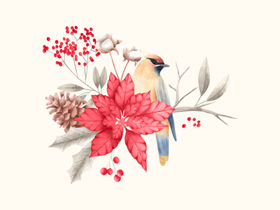 Christmas bird christmas decoration birds floral painting floralprint illustration watercolor