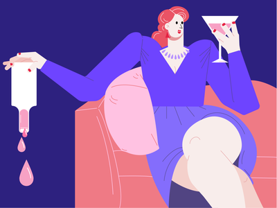 Drinking Time girl character characterdesign portrait illustration portrait blue pink purple women lady ui illustration art character vector color 2d art digital art 2d illustration design digital
