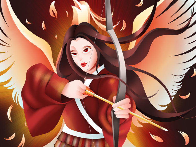 Mulan red phoenix arrow flat illustration girl illustration design girl character texture women illustration art illustrator design character digital illustration mulan disney princess disney art disney