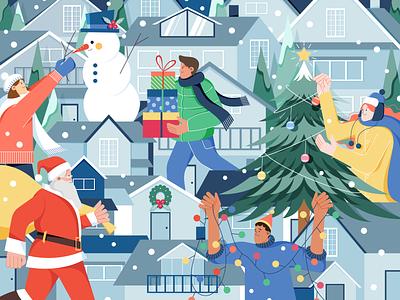 Happy Holiday newyear flat illustration digitalart vectorart merrychristmas gift illustraion design illustrator vector character illustration digital christmas tree christmas snow winter santa holiday xmas