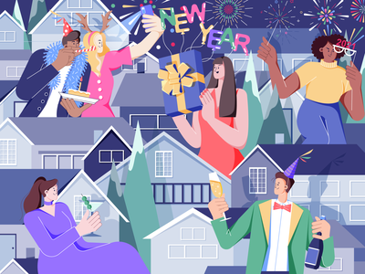 Happy New Year illustrator holiday happy new year presents girl character fireworks party celebration 2021 new year digital art color vector design character illustration digital