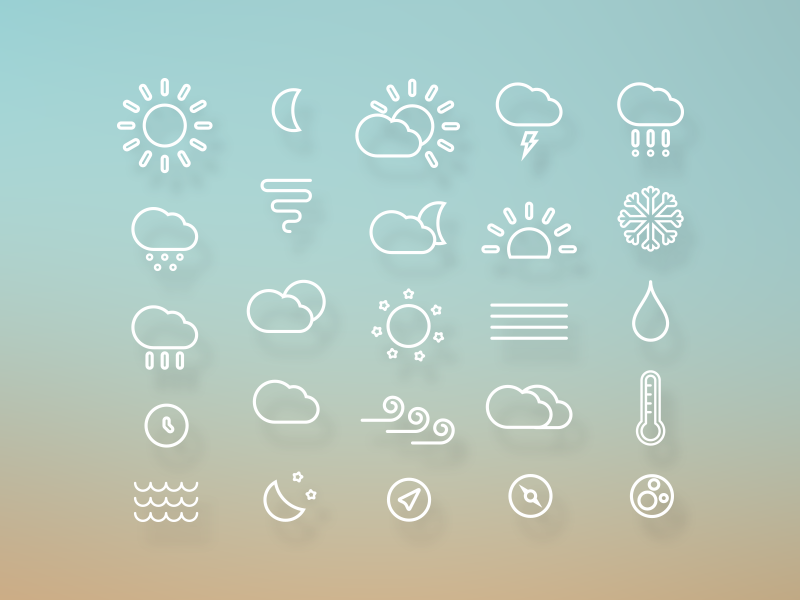 Weather Icons icon icons weather sun snow rain cloud