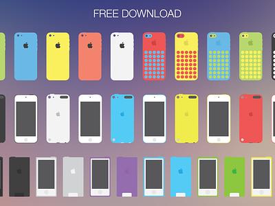 Apple flat devices (EPS + PSD) flat iphone icons macbook mac ipad apple device free eps freebie psd