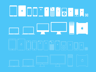 Apple devices icons full/outline (PSD) freebie eps psd free device apple ipad mac macbook icons iphone flat