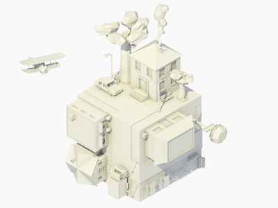 CityCube render 3d lowpoly isometric city cube low poly