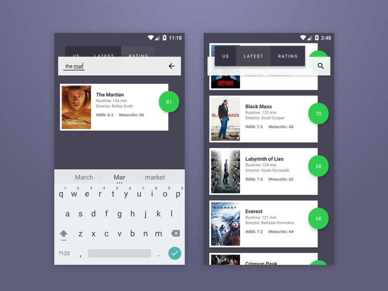 Android Movies App Design by Mirko Monti on Dribbble