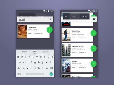 Android Movies App Design material ux ui app movies android