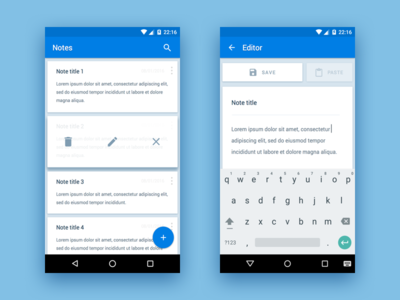 Android Notes App material ux ui app android