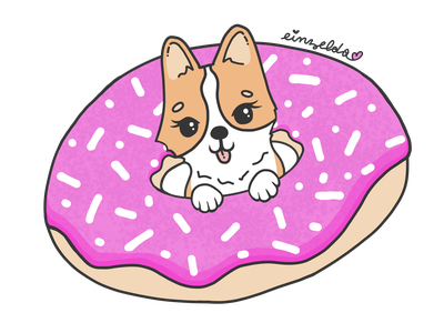 Ein Zelda in a Pink Donut illustration dog illustration dog corgis corgi