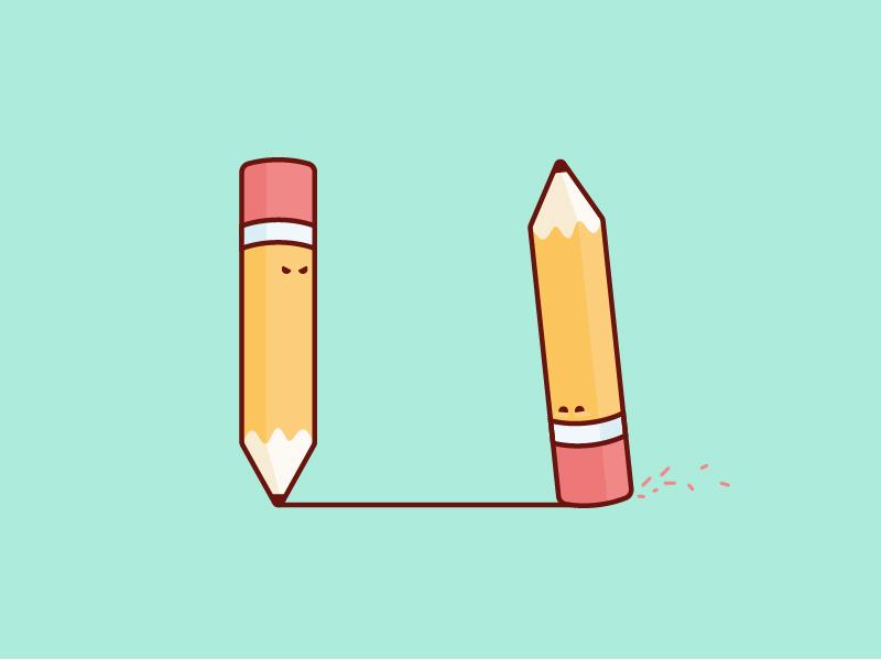 Pencil vs. Eraser erase create design simple fun character illustration eraser pencil