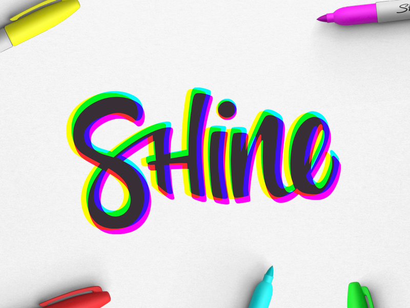 Shine monday happy shine colour lettering hand lettering typography