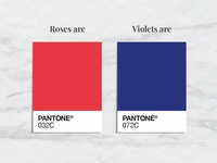 Valentines design graphic violets valentines roses blue red swatch colour pantone
