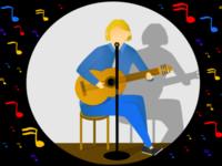 A women play guitar