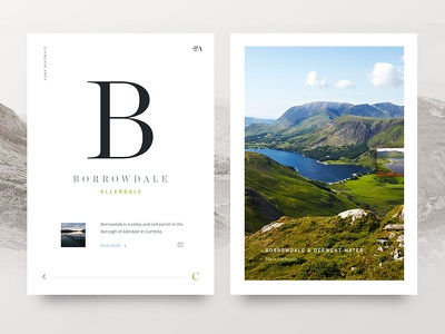 Lake District Alphabet lake district typography splitscreen app design app user interface ui design layout clean website web design
