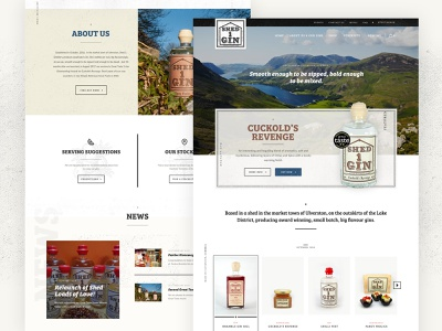 Gin O'Clock ecommerce product bree serif cumbria web  design web ui design vintage clean texture layout website