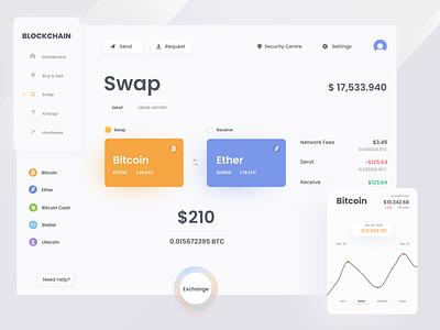 Blockchain Swaping panel blockchain ui creative design exchnage design webdesign crypto wallet crypto exchange cryptocurrency crypto web ux design