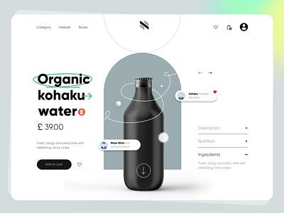 Organic water bottle product page UI product designer product page mockup design product design branding ui webdesign ux design