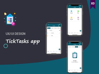 TickTasks app (UI/UX DESIGN) mobile app design task management tasks uxuidesign user interface design user experience userinterface ux branding app mobile app design illustration ui ios adobe xd iphonex