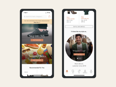 Vestiaire Collective Home Redesign - Mobile ecommerce ios mobile ux ui design