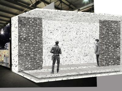 Proposal stand for a ceramic company branding illustration architect stand interior design
